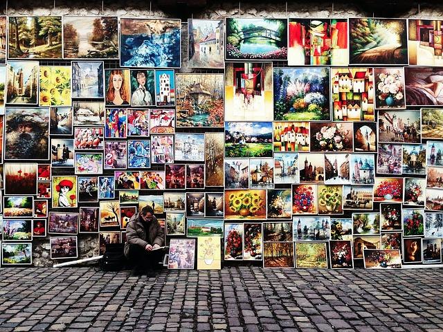 obrazy, ulice, muž