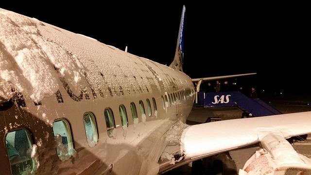 sníh na letadle